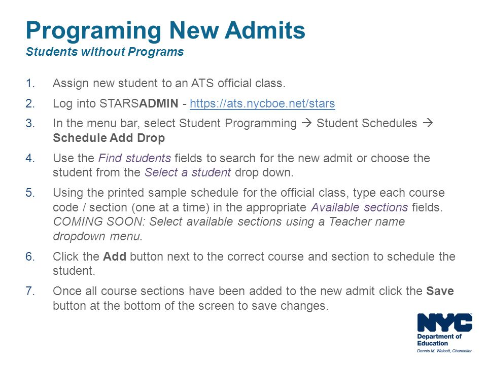 Programing New Admits Students without Programs