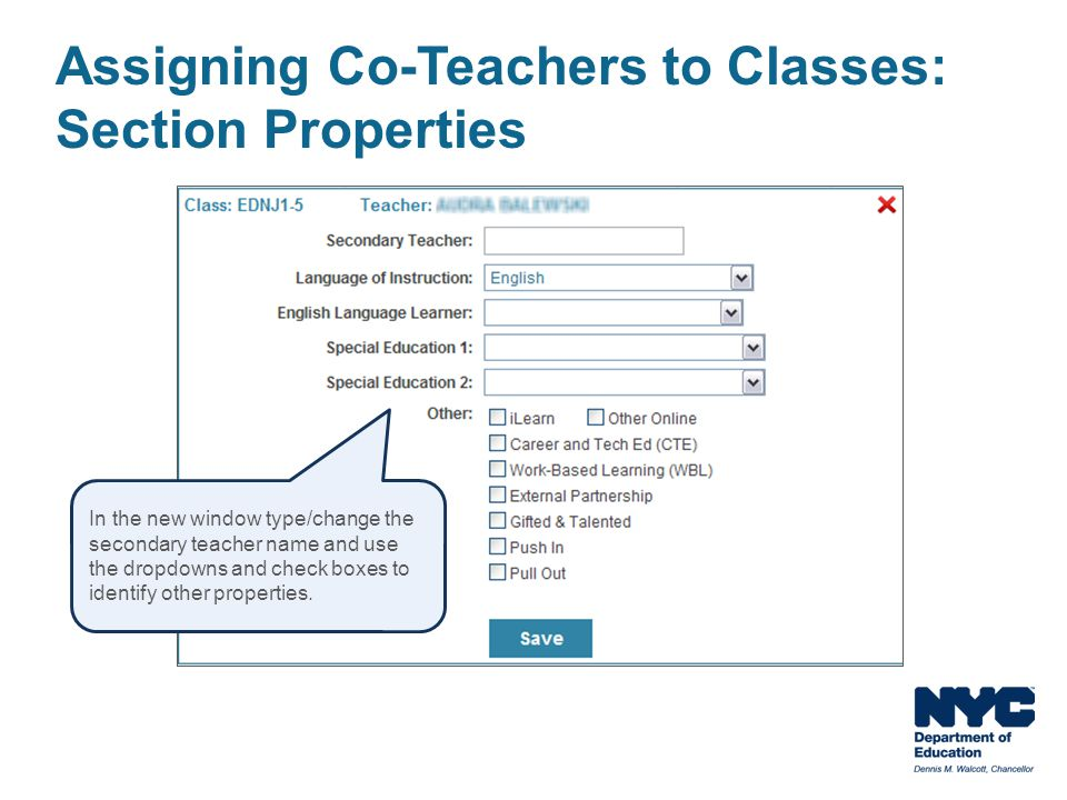 Assigning Co-Teachers to Classes: Section Properties