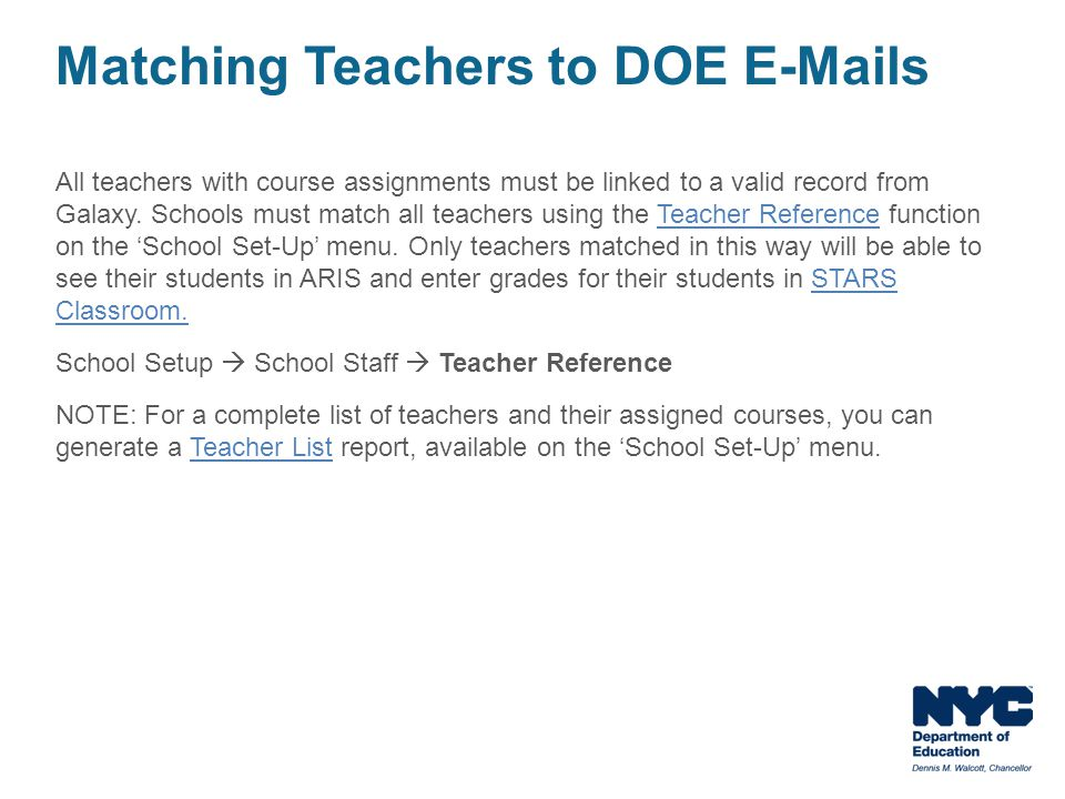 Matching Teachers to DOE E-Mails