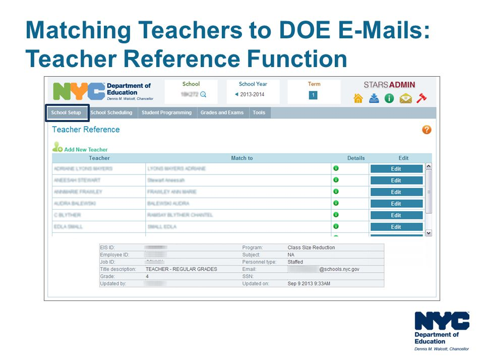 Matching Teachers to DOE E-Mails: Teacher Reference Function
