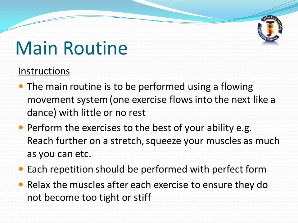 Main Routine Instructions
