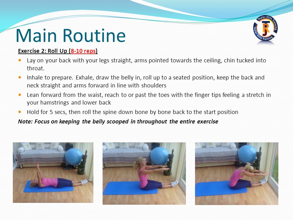 Main Routine Exercise 2: Roll Up (8-10 reps)