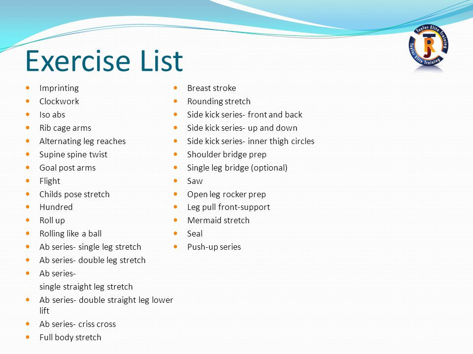 Exercise List Imprinting Breast stroke Clockwork Rounding stretch