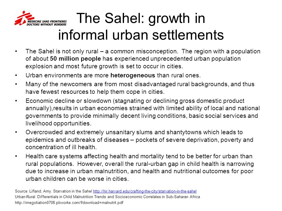 The Sahel: growth in informal urban settlements