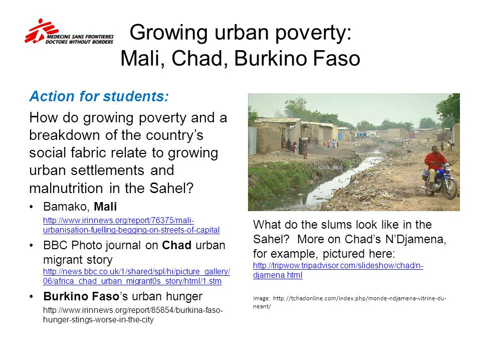Growing urban poverty: Mali, Chad, Burkino Faso