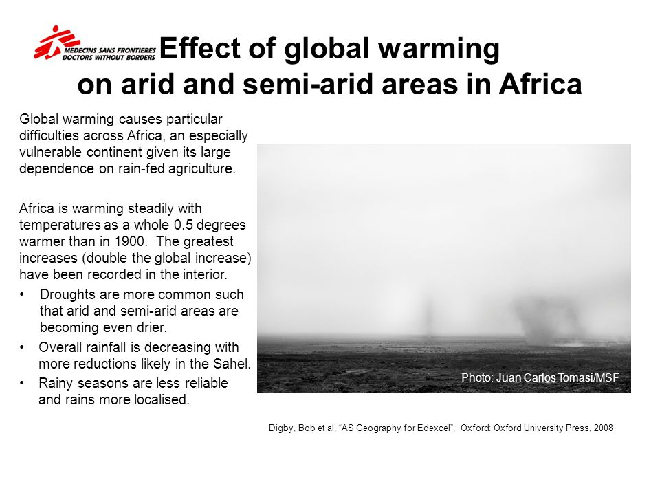 Effect of global warming on arid and semi-arid areas in Africa