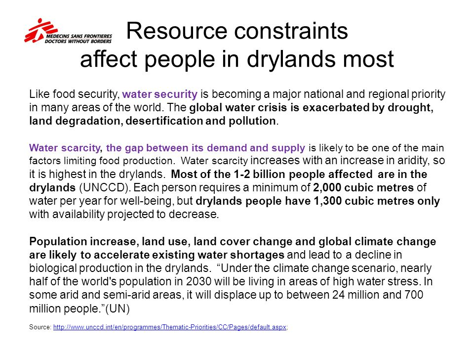 Resource constraints affect people in drylands most