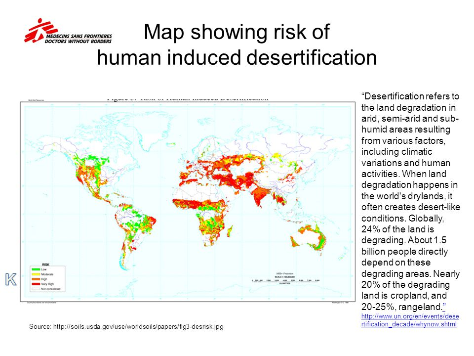 Map showing risk of human induced desertification