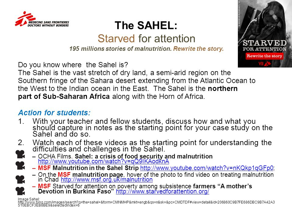 The SAHEL: Starved for attention 195 millions stories of malnutrition