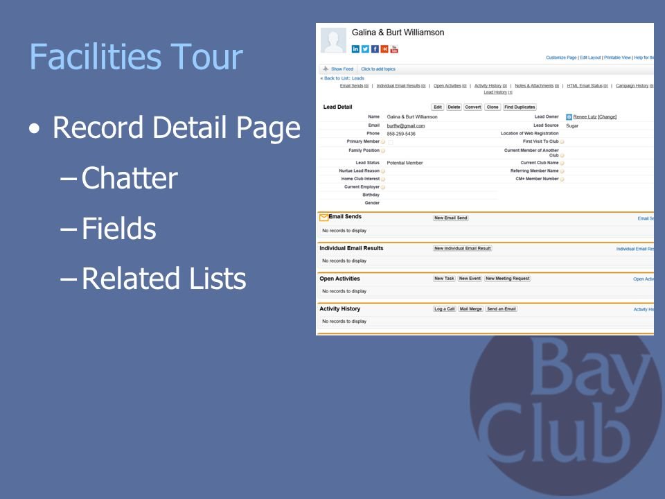 Facilities Tour Record Detail Page Chatter Fields Related Lists