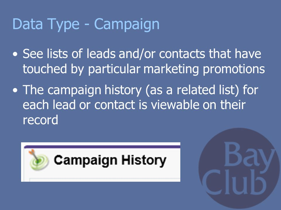 Data Type - Campaign See lists of leads and/or contacts that have touched by particular marketing promotions.