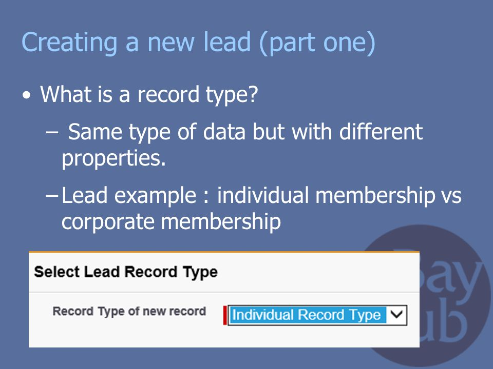 Creating a new lead (part one)
