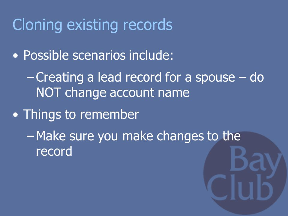 Cloning existing records
