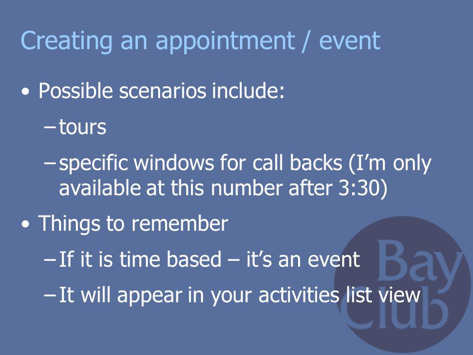 Creating an appointment / event
