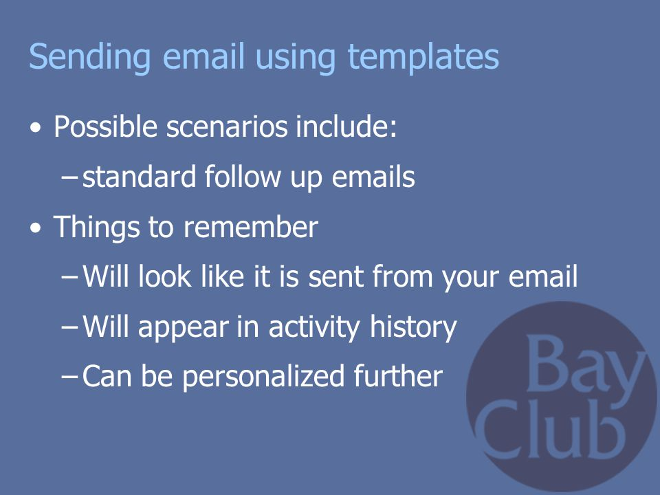 Sending email using templates