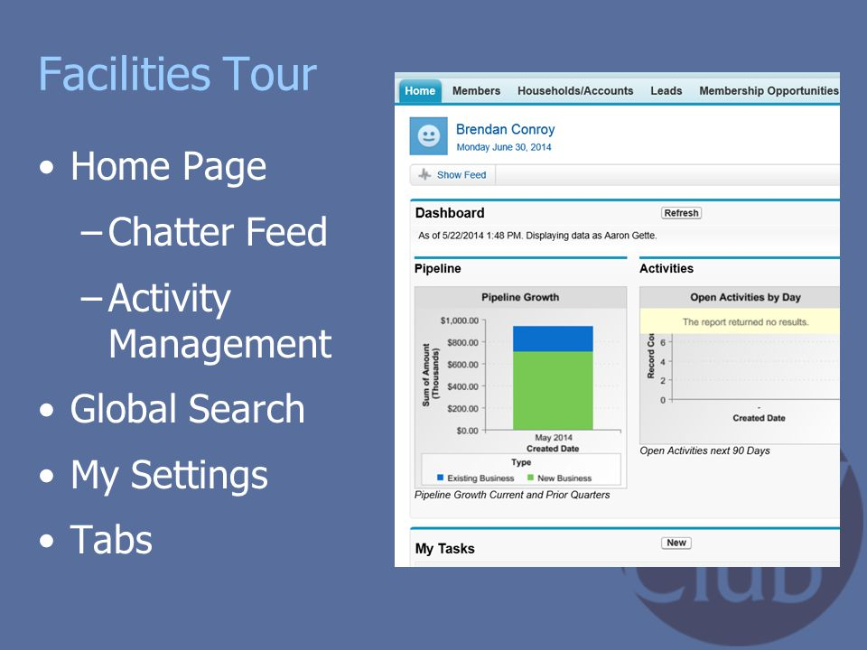 Facilities Tour Home Page Chatter Feed Activity Management