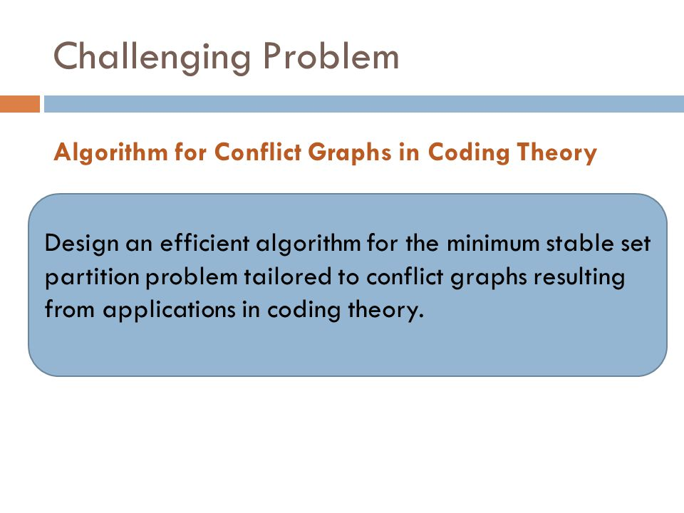 Challenging Problem Algorithm for Conflict Graphs in Coding Theory