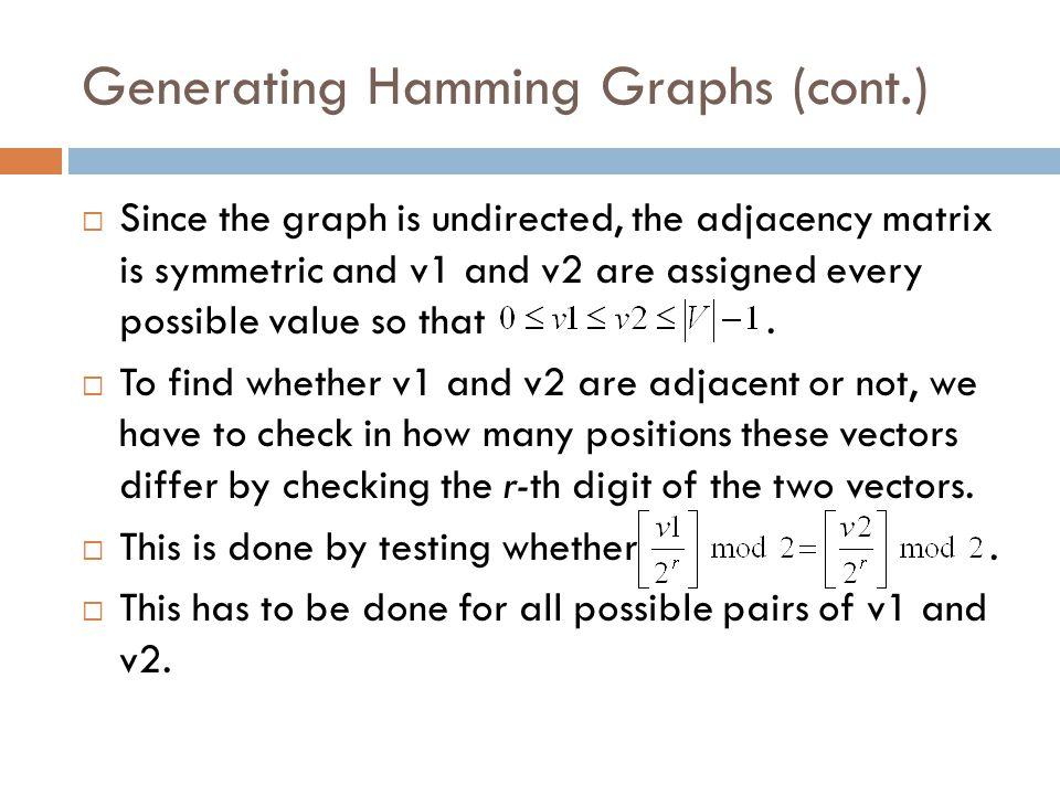 Generating Hamming Graphs (cont.)