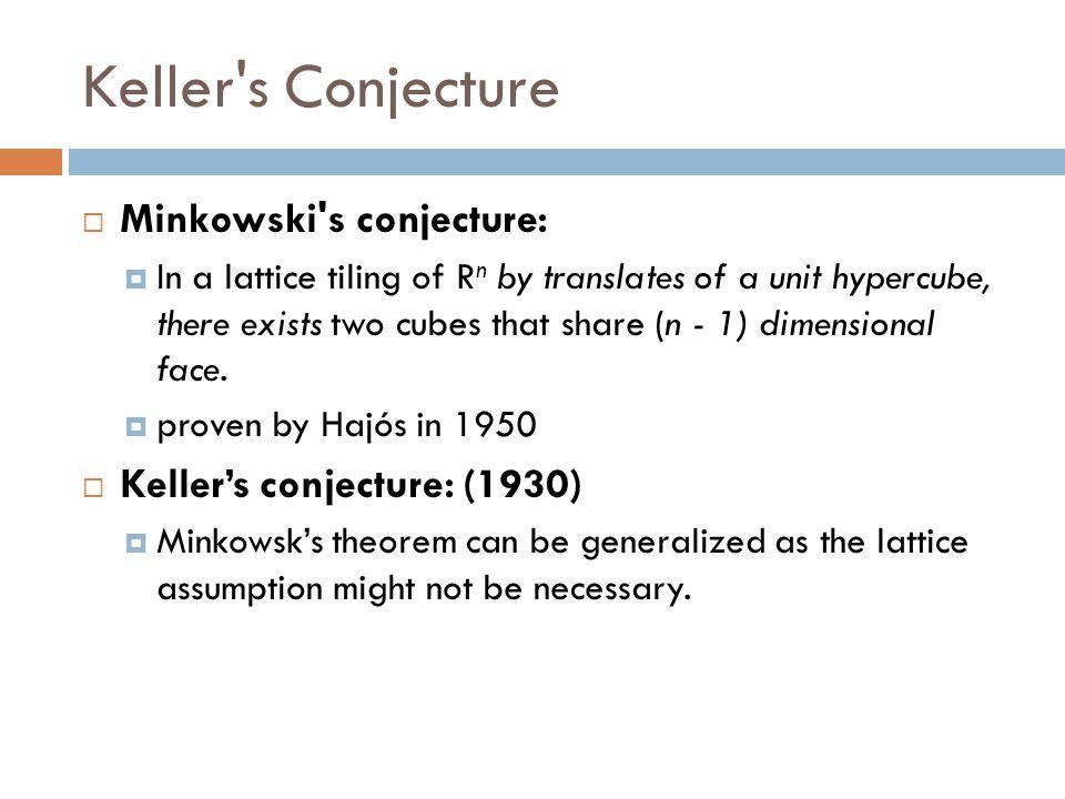 Keller s Conjecture Minkowski s conjecture: