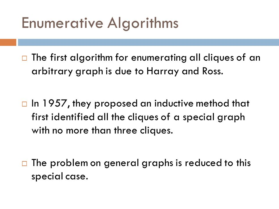 Enumerative Algorithms