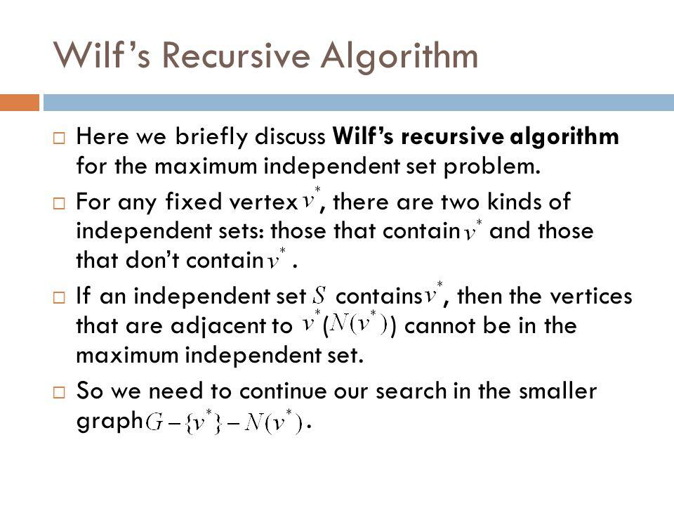 Wilf's Recursive Algorithm