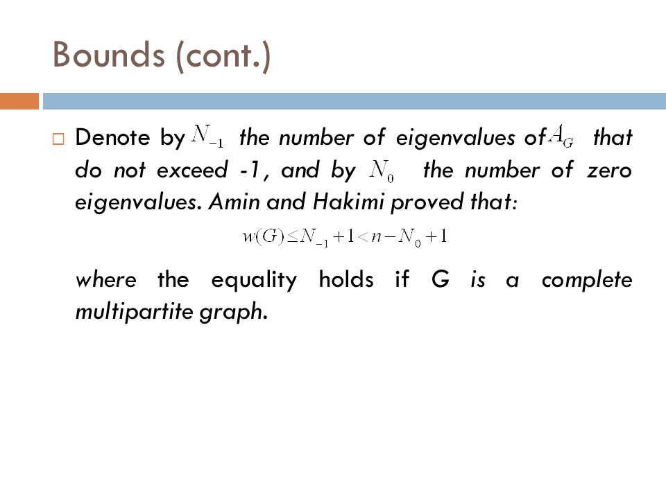 Bounds (cont.)