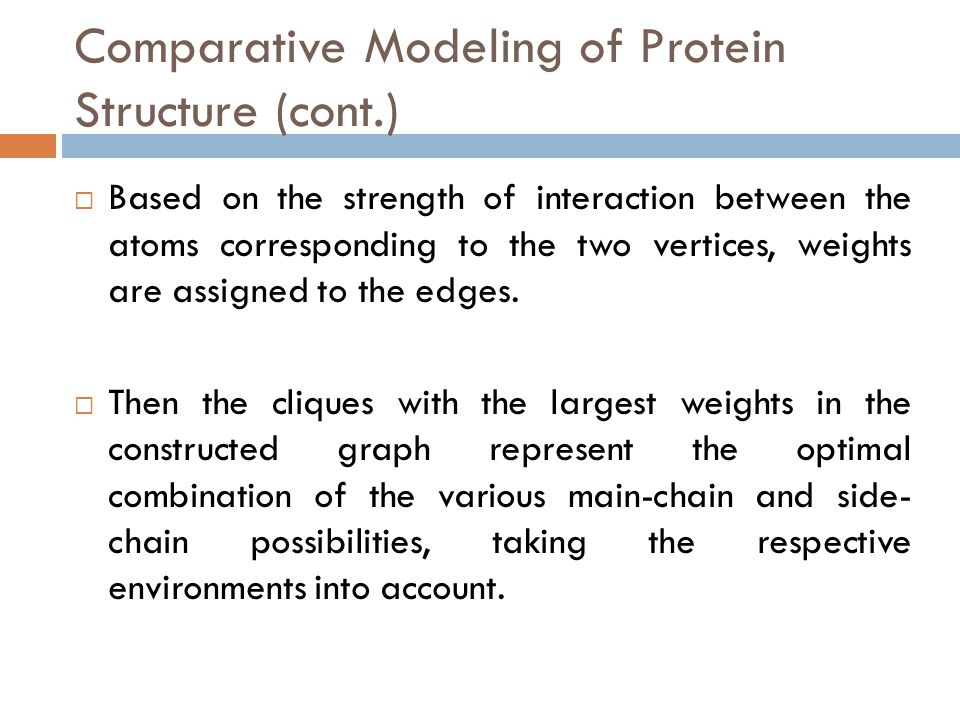 Comparative Modeling of Protein Structure (cont.)