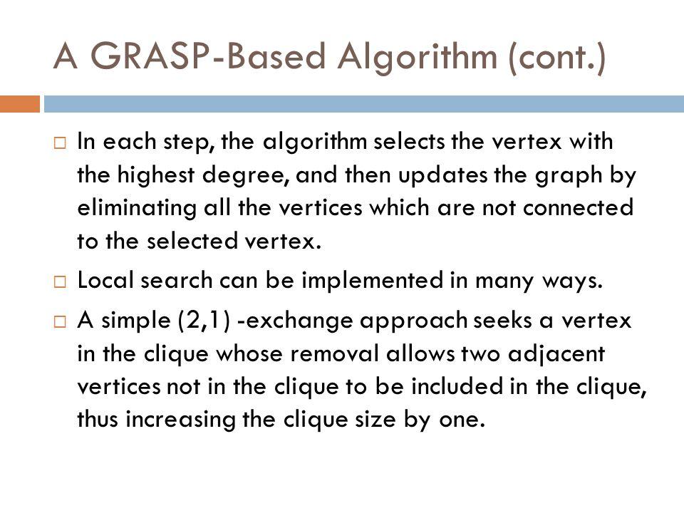 A GRASP-Based Algorithm (cont.)