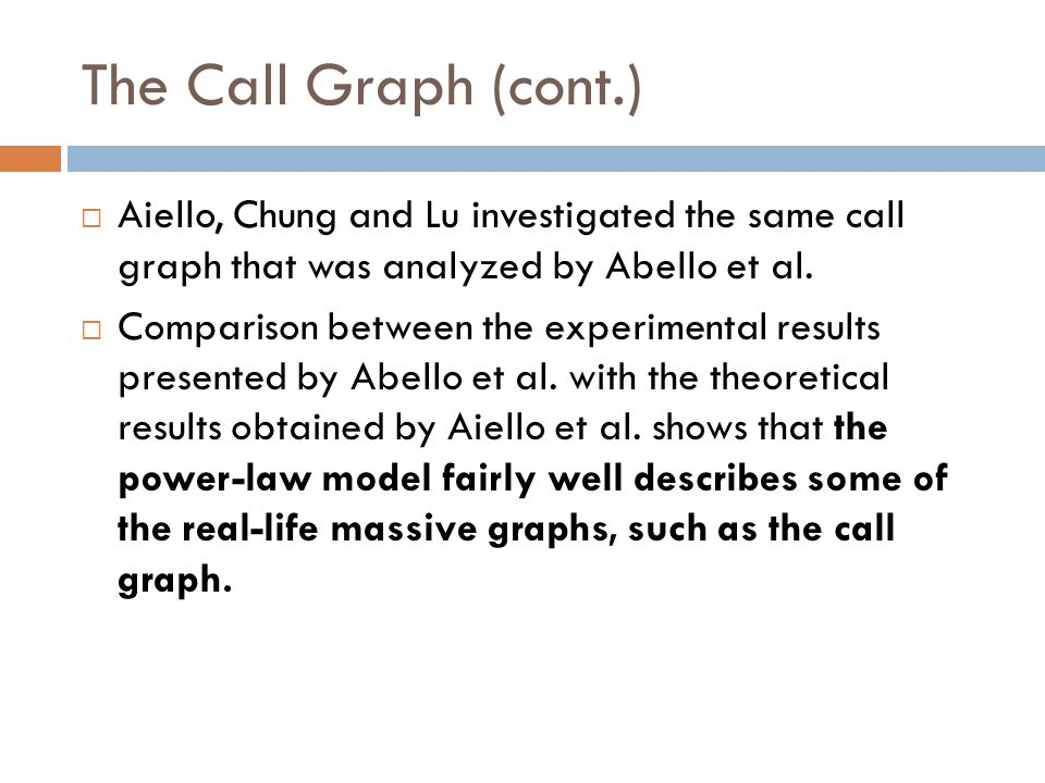 The Call Graph (cont.) Aiello, Chung and Lu investigated the same call graph that was analyzed by Abello et al.