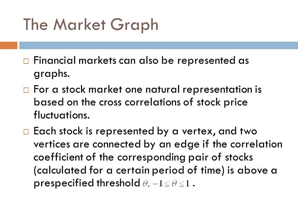 The Market Graph Financial markets can also be represented as graphs.