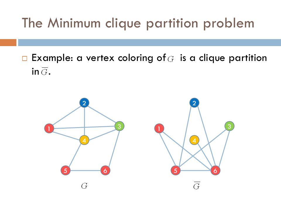 The Minimum clique partition problem