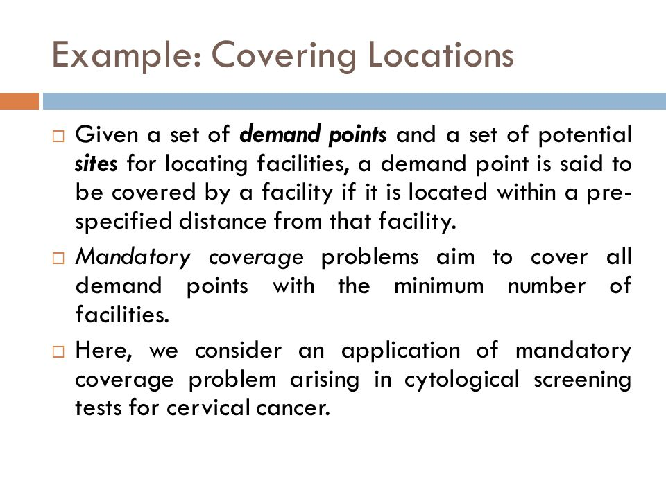 Example: Covering Locations