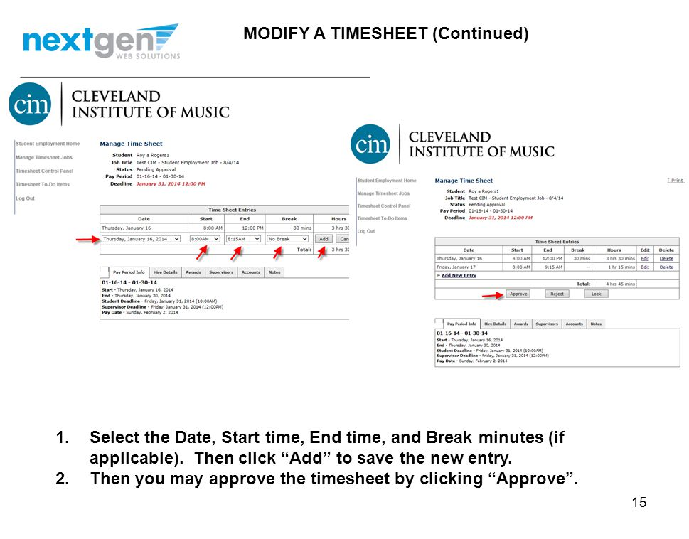MODIFY A TIMESHEET (Continued)