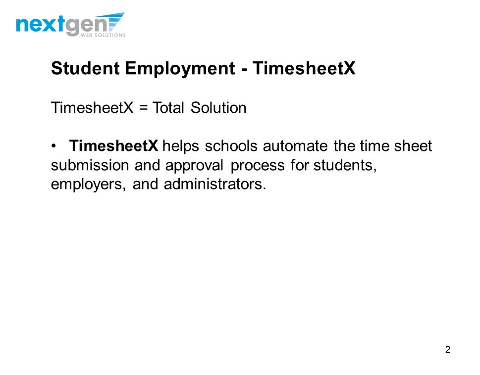Student Employment - TimesheetX