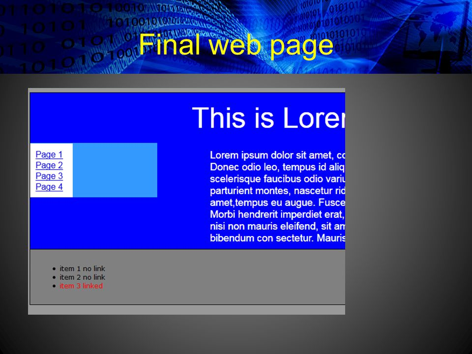 Final web page