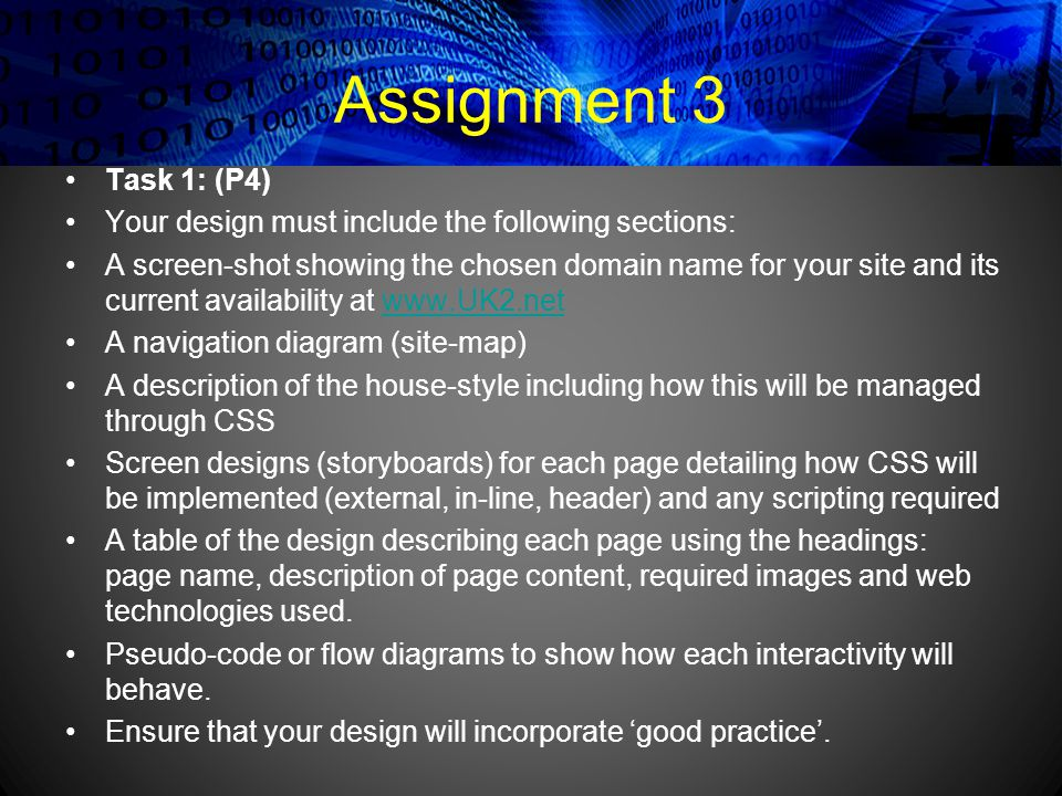 Assignment 3 Task 1: (P4) Your design must include the following sections: