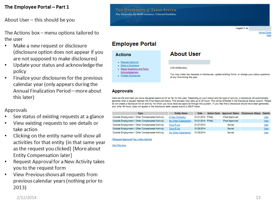 The Employee Portal – Part 1 About User – this should be you