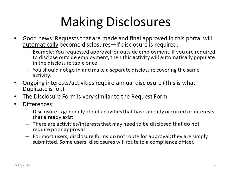 Making Disclosures