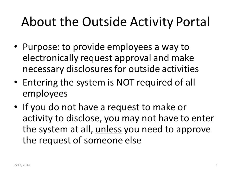 About the Outside Activity Portal