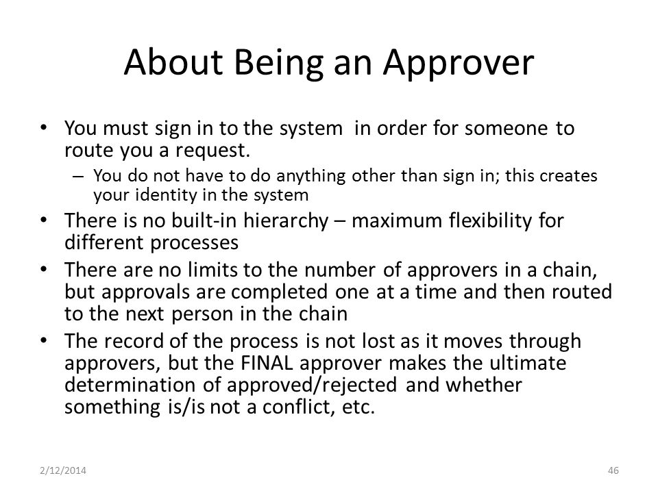 About Being an Approver