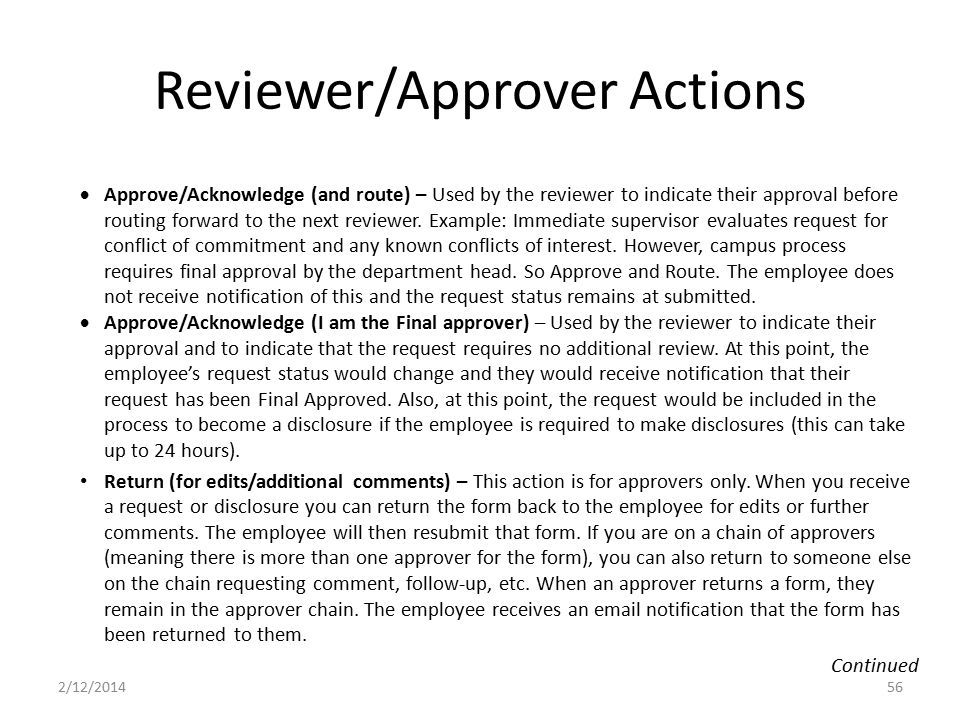 Reviewer/Approver Actions