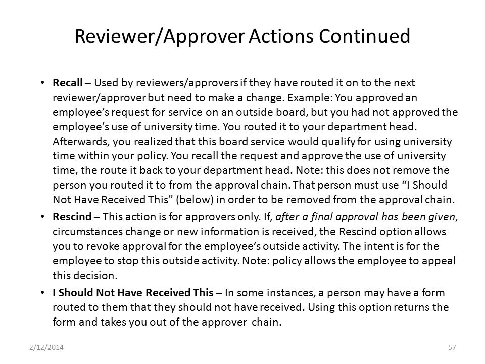 Reviewer/Approver Actions Continued