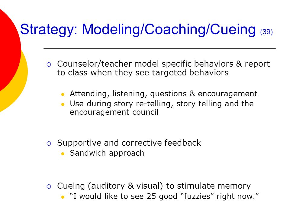 Strategy: Modeling/Coaching/Cueing (39)