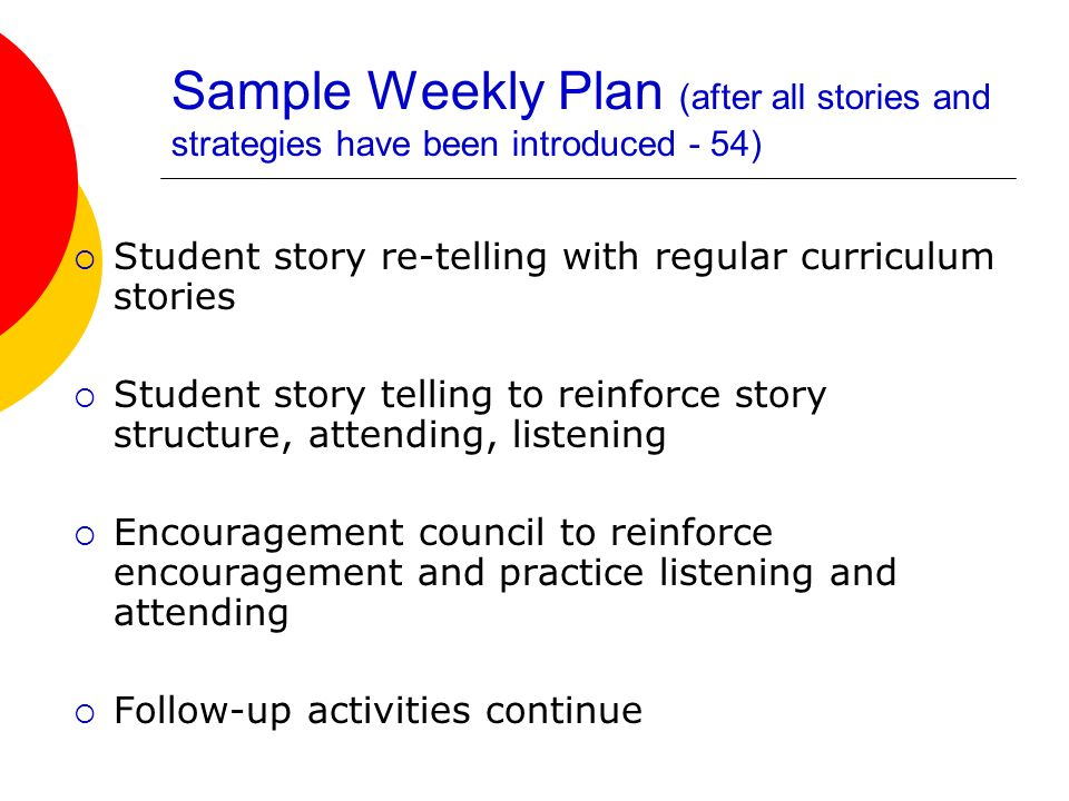 Sample Weekly Plan (after all stories and strategies have been introduced - 54)