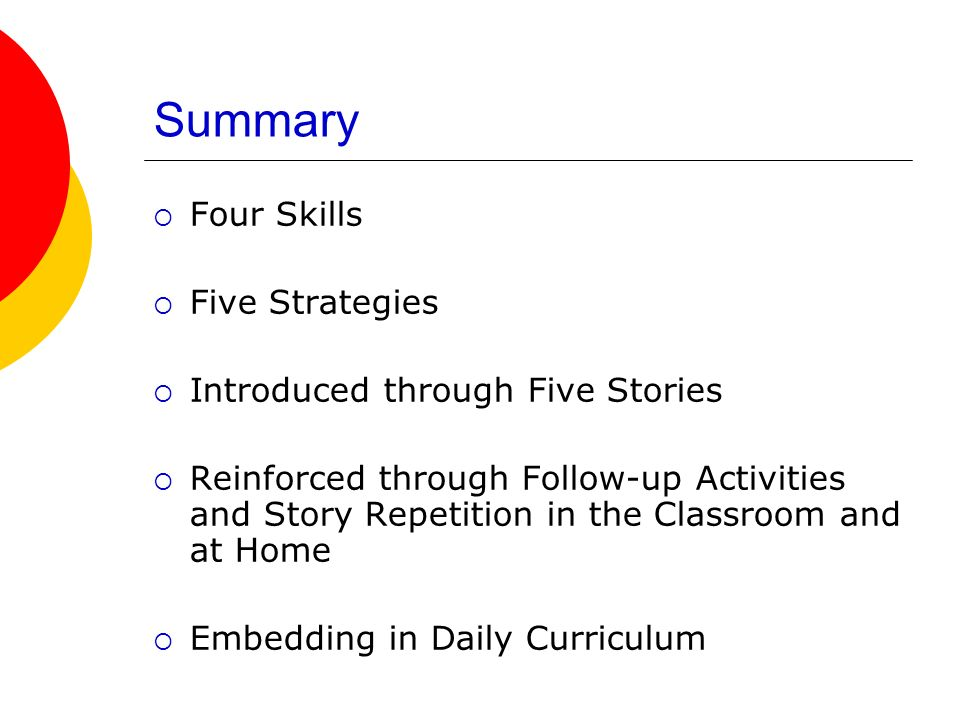 Summary Four Skills Five Strategies Introduced through Five Stories