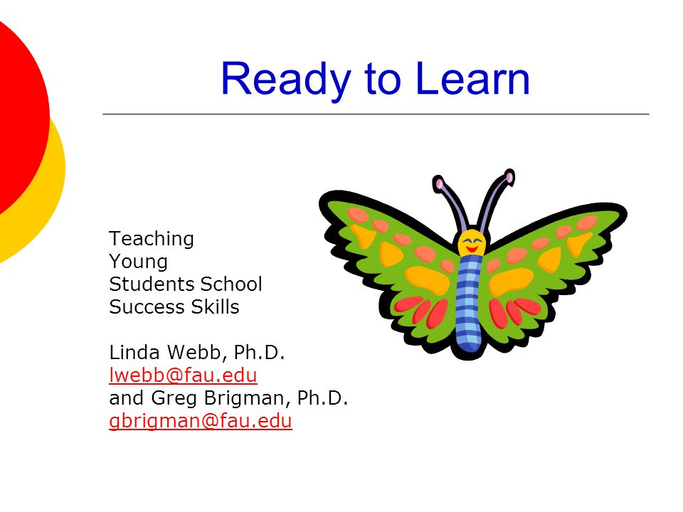 Ready to Learn Teaching Young Students School Success Skills