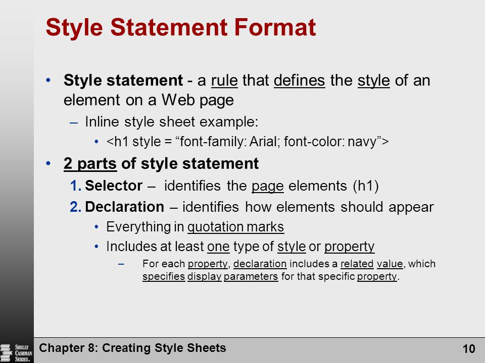 Style Statement Format