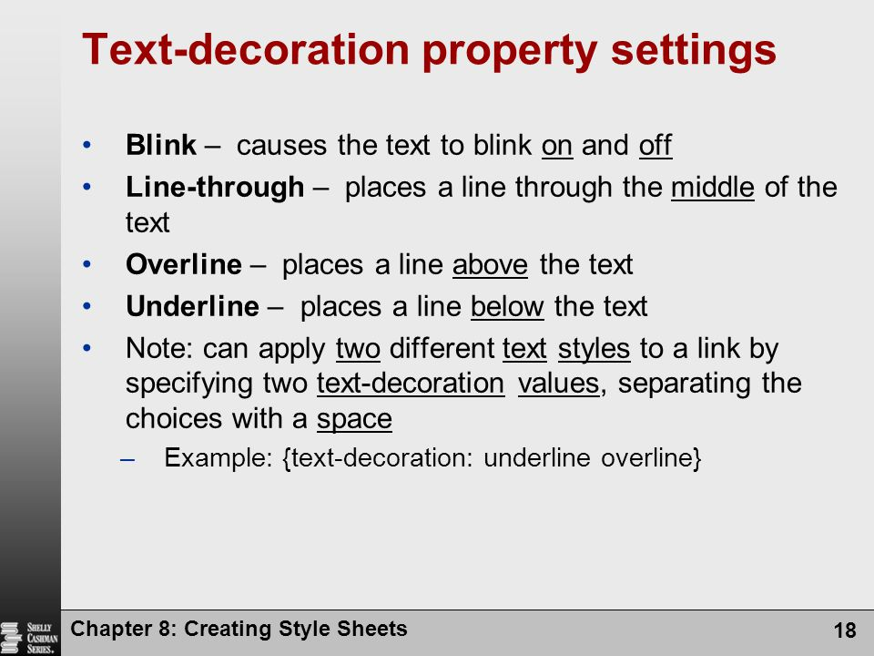 Text-decoration property settings