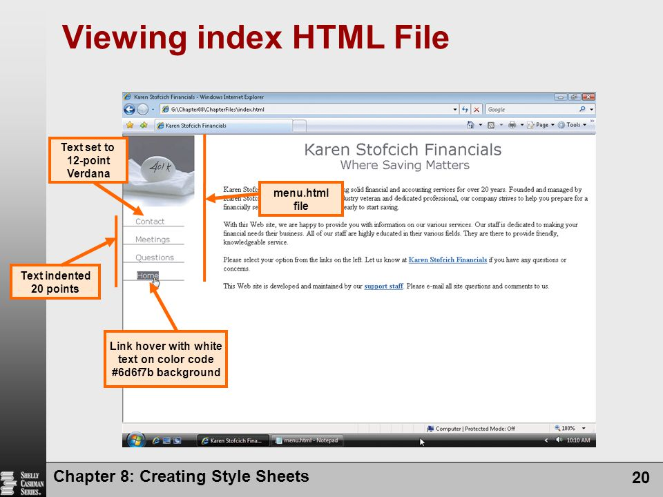 Viewing index HTML File