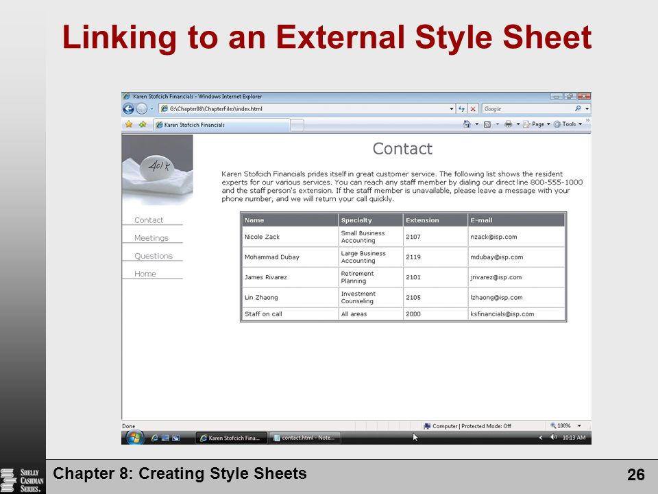 Linking to an External Style Sheet